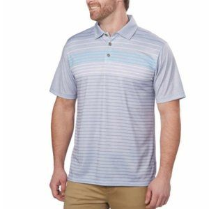 Mens Performance Polo Gray Casual Golf Striped Lux